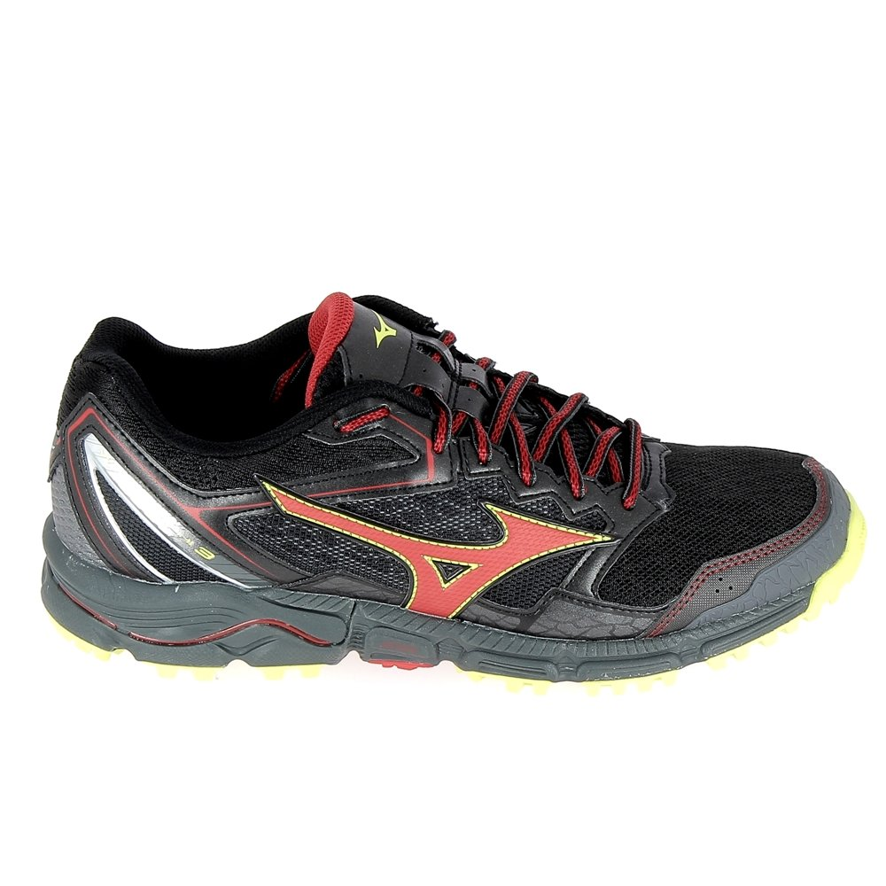 Mizuno Wave Daichi 3, Zapatillas de Running para Hombre 39|noir/rouge/jaune