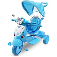 LT 854 Triciclo con pedales para bebés con 3 canciones integradas en capota varios colores (Azul oscuro)