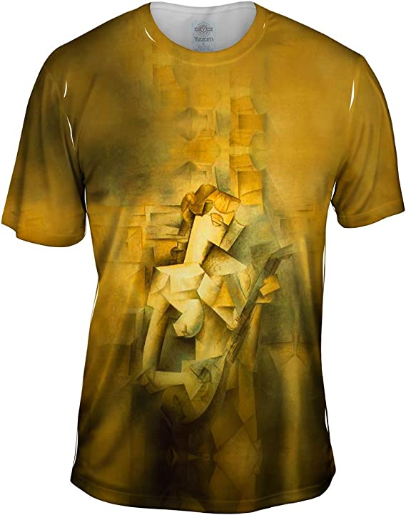 Yizzam- Pablo Picasso - Girl with A Mandolin (1910) -Tshirt- Mens Shirt
