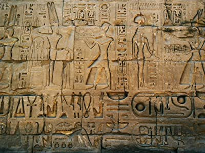 12 Feet wide by 9 Feet high. Pre-pasted wallpaper mural from a photo of: Hieroglyphes from the Pyramid Temple of Karnak. Easy to hang remove reuse (hang again) when U do as in our demo video