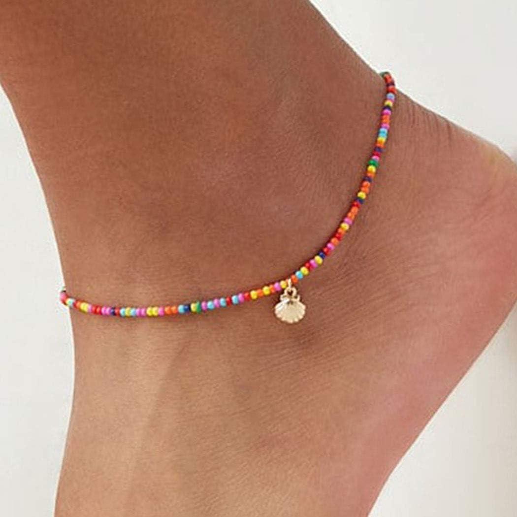 Shegirl Boho Beaded Anklet Bracelet Gold Shell Anklet Chain Colorful Beaded Foot Jewelry for Women and Girls