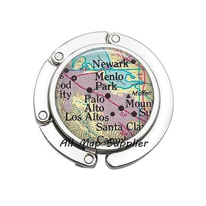 Amazon.com: Charming Purse Hook,Palo Alto map Bag Hook,Menlo Park,CA on
