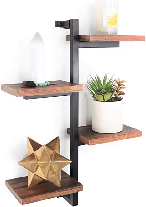 Amazon Com Wall Shelves Floating Display Shelf Unique For Bathroom Bedroom Living Room Wall Decor Rustic Brown Home Kitchen