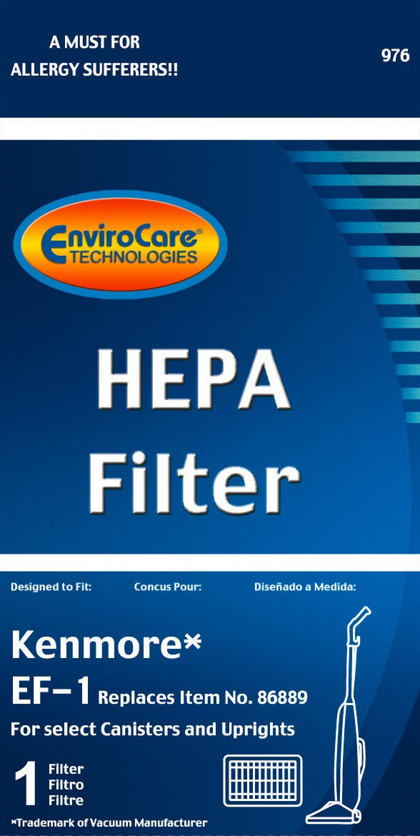 EnviroCare Replacement HEPA Vacuum Filter for Kenmore EF-1 for select Canisters and Uprights 20-86889