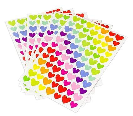 Conjunto de pegatinas Corazones 6 páginas Multicolor ...