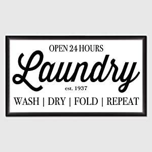 Laundry Open 24 Hours Laundry Room Wood Sign, Decorative Home Wall Art, Framed Sign for Home Wedding Party Farmhouse, Personalized Housewarming Gift, 12x22