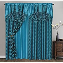 "CIRCLE CYCLE. Clipped voile/ voile jacquard window curtain panel drape with attached fancy valance & taffeta backing. 2pcs set. Each pc 54"" wide x 82.5"" drop + 18"" valance. (TURQUOISE)"