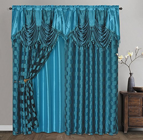 Jacquard Window - CIRCLE CYCLE. Clipped voile/ voile jacquard window curtain panel drape with attached fancy valance & taffeta backing. 2pcs set. Each pc 54