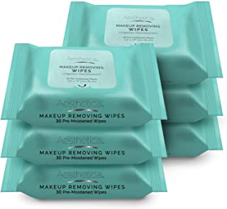 product image for Aesthetica Makeup Removing Wipes - Facial & Eye Makeup Remover Wipes - 6 Pack Bulk (180 Wipes Total) Hypoallergenic & Dermatologist Tested - Oil & Fragrance Free - Made in USA