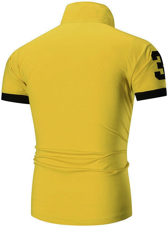 YCHENG - Polo - Liso - Manga Corta - para Hombre Amarillo Amarillo ...