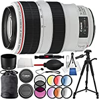 Canon EF 70-300mm f/4-5.6L IS USM Lens 8PC Accessory Bundle - Includes 3 Piece Filter Kit (UV, CPL, FLD) + 6 Piece Gradual Color Filter Kit + 72 Tripod + Lens Cleaning Pen + MORE