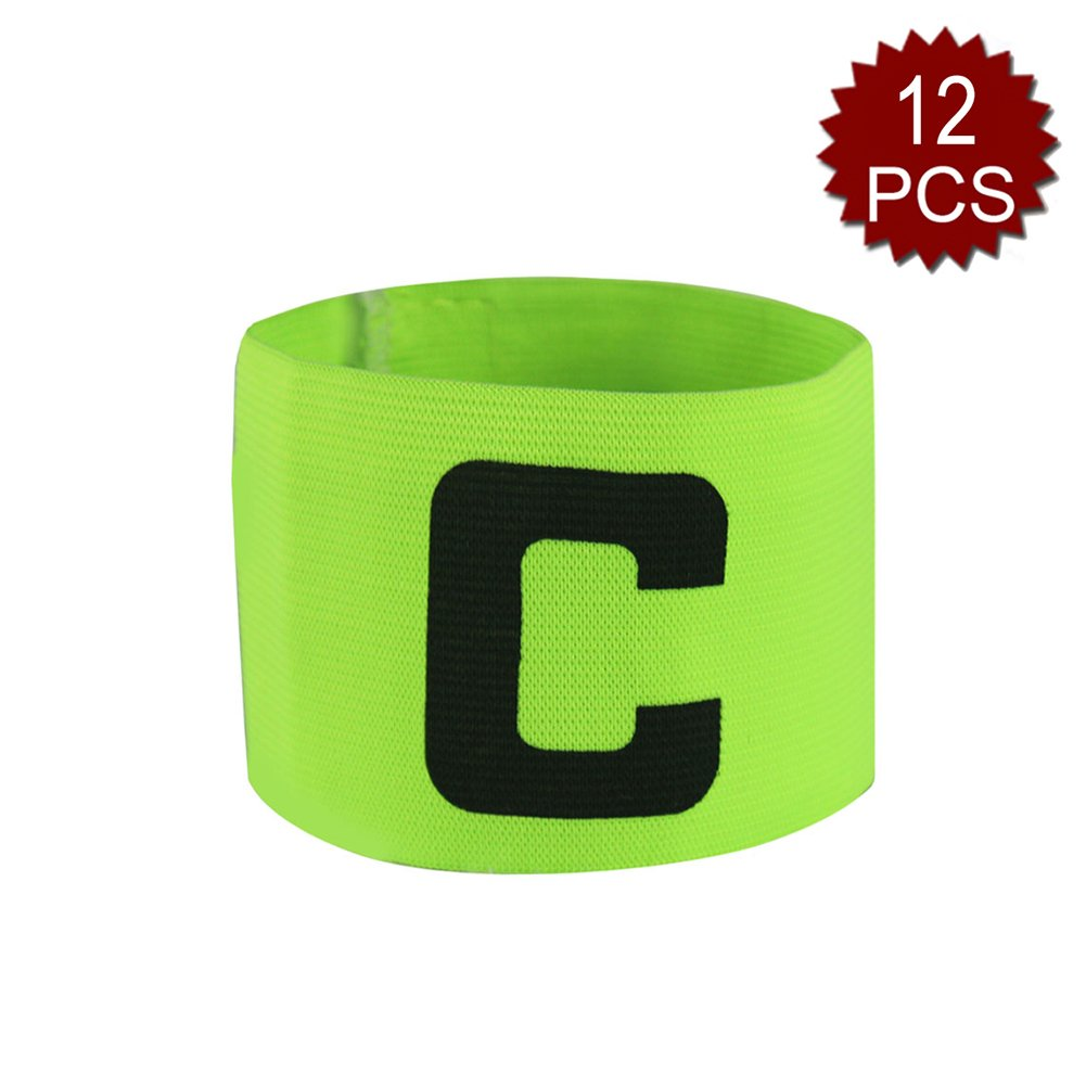 GOGO Soccer Football Captain Armband/Wristband Wholesale Lot, with C Print-NeonGreen-12PCS