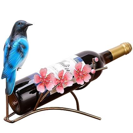 FEOOWV Elegante Soporte de Mesa para Botellas de Vino de Hierro Forjado con Diseño de Pavo