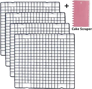 Mokpi Oven Safe Wire Cooling Racks Baking Grid Rack, Size 11''x10'', Heavy Duty Commercial Quality Rack (Set of 4)