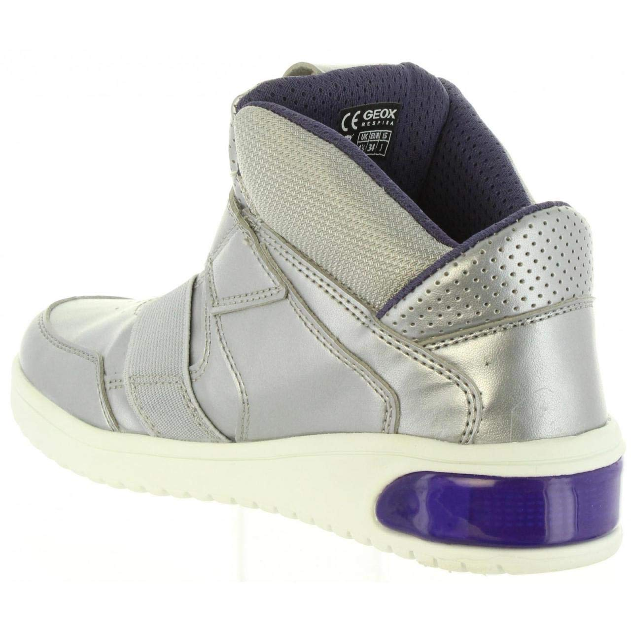 Geox Filles J XLED Girl Silbern Sneaker High