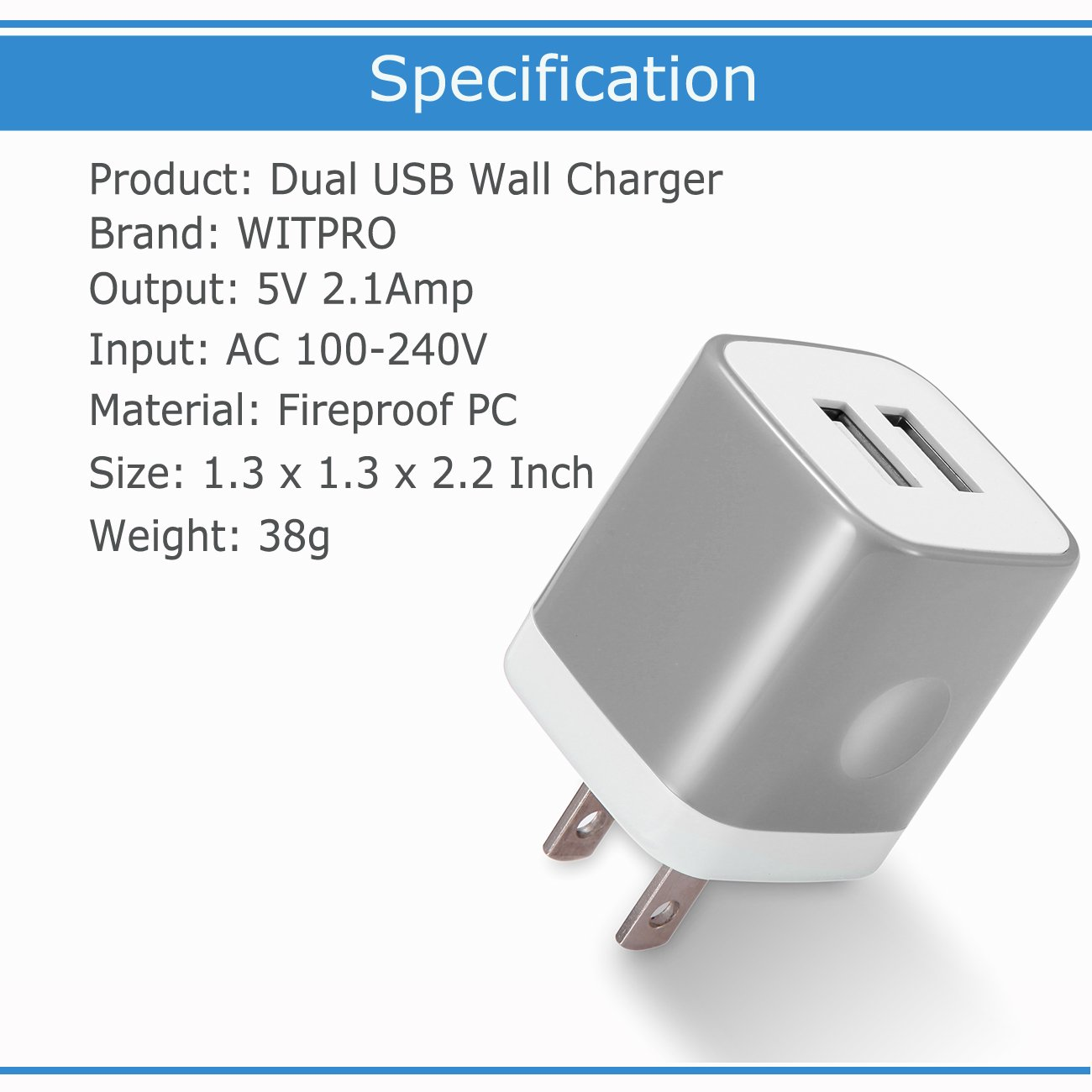 USB Wall Charger 3-Pack, WITPRO 2.1A/5V Smart Dual Port USB Plug Power Adapter Charging Block for iPhone X/8/7/6S Plus SE/5C, Samsung, HTC, LG, Huawei, Moto G Z, More (Grey) by WITPRO (Image #4)