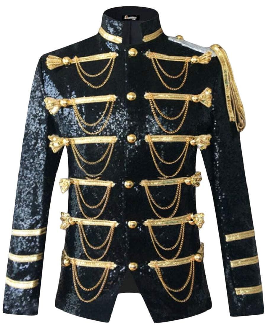 Wofupowga Mens Tassel Sequins Slim Fit Irregular Performance Sports Blazer Jacket