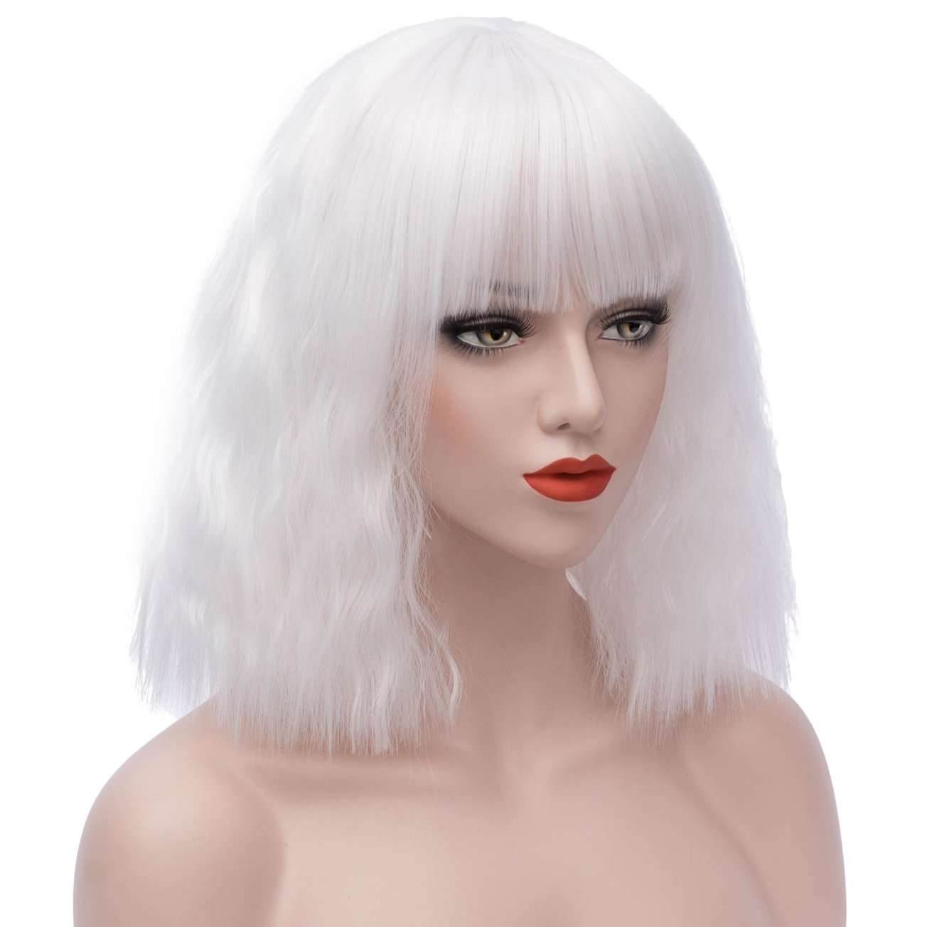 Amazon.com   Cute Short White Wigs Women s Fluffy Curly Bobo Hair Wig Heat  Resistant Fashion Hairstyles Custom Cosplay Party Wigs 125WH   Beauty 52b8da2a7404