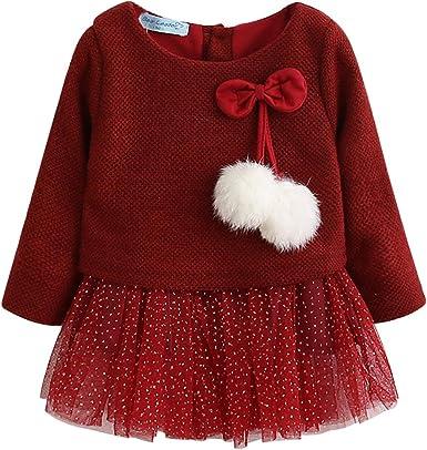 Vestido Tutú 6-18 Meses para Bebé Niña Malla Vestidos Niñas Princesa Infantil Falda Tul Fiesta Lazo Pompón Manga Larga Algodón Punto Lindo: Amazon.es: Ropa y accesorios