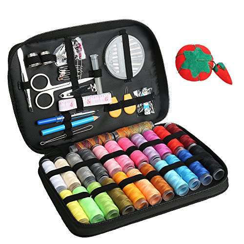 Premium Portable Sewing Kit with 96-in-1 Sewing Tools (Including Thread, Needles, Scissors, Thimble, Buttons, Tape Measure and More) Basic Sewing Kits Suitable for Home, Travel and Emergency Use