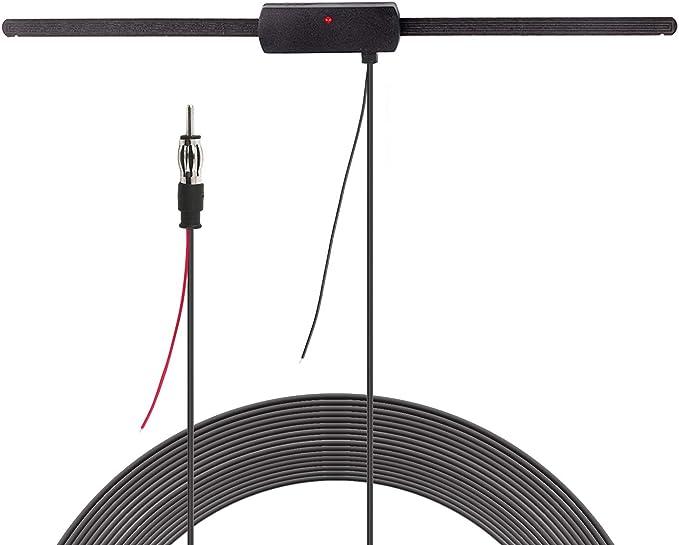Bingfu Antena dipolo amplificada Universal para Radio Am FM Oculta para Coche, camión, SUV, Auto, Radio, estéreo, Fuente de alimentación de 12 V, ...