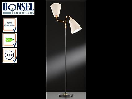 Lámpara de pie 2 luces Hopper con bombilla LED, Negro/pantalla, color bronce
