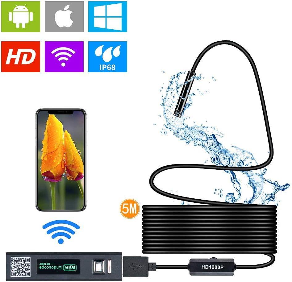 WIFI Endoscopio YSDRoyal Telecamera di Ispezione Periscopio 2.0 MP HD impermeabile IP68 Semi-Rigida Periscopio Serpente Fotocamera for con Android e IOS Iphone//Windows//Mac//PC//Ipad 5m