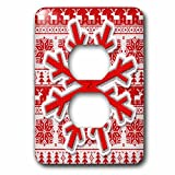 3dRose Doreen Erhardt Christmas Collection - Red and White Knit Snowflake on Needlework Patterned Holiday Design - Light Switch Covers - 2 plug outlet cover (lsp_269564_6)