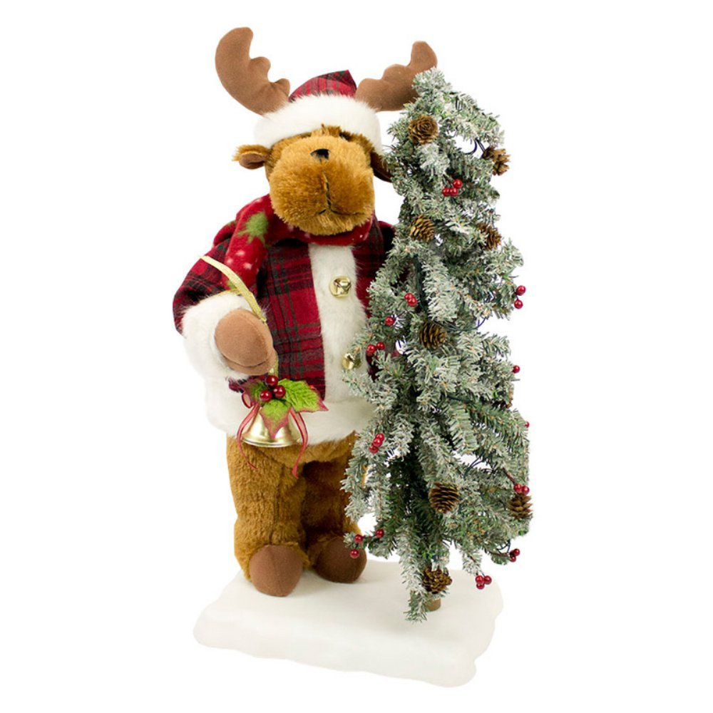 Puleo International 22 in. Animated Musical Reindeer with Lighted Base Artificial Christmas Tree, Green