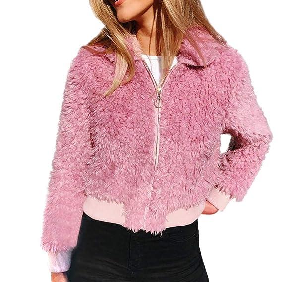 Mantel Kolylong Damen Elegant Plüsch Jacke Kurz Herbst Winter Warm  Wolljacke Dicker Künstlich Reißverschluss Wollmantel Parka ecae85e424