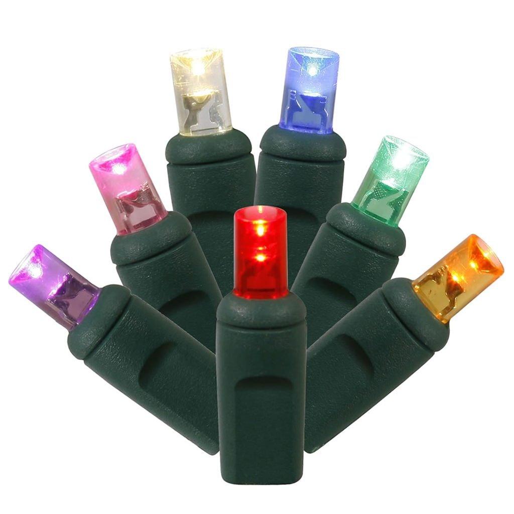 Vickerman 100-Light LED GW WA Ec Set Multicolored LED Light Set with 100 Multicolored Single Mold Wide Angle LED 36-Feet X4G6100