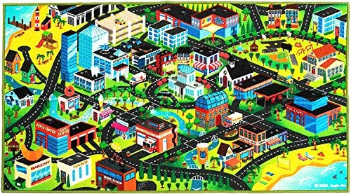 3D Kids Play Mat, City Life Car Rug, Pretend Play Set for Kids Age 3+, Hot Wheels Track Racing – Floor Mats for Kids Room