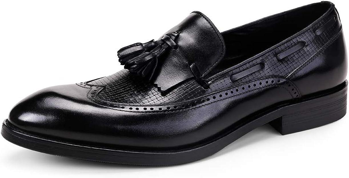 Zapatos de Vestir Formales de Negocios para Hombres Calzado de Barco Brogues clásicos Moda Puntiagudos Mocasines de Boda Borla Calzado: Amazon.es: Zapatos y complementos