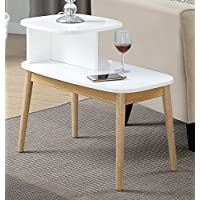 Convenience Concepts Maxwell Mid Century Round End Table, Natural / White