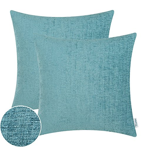 CaliTime Pack of 2 Throw Pillow Covers Cases for Couch Sofa Home Decor, Solid Dyed Soft Chenille, 20 X 20 Inches, Teal
