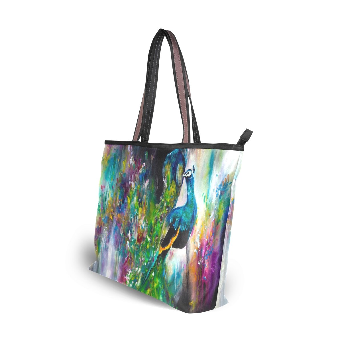 Women Large Tote Top Handle Shoulder Bags Peacock Feather Ladies Handbag L by JSTEL (Image #7)