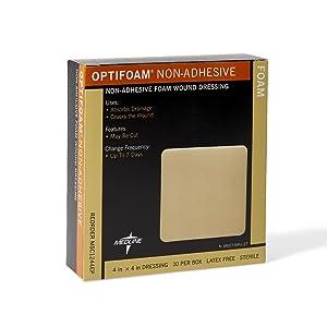 Medline MSC1244EPZ Optifoam Non-Adhesive Dressings, 4