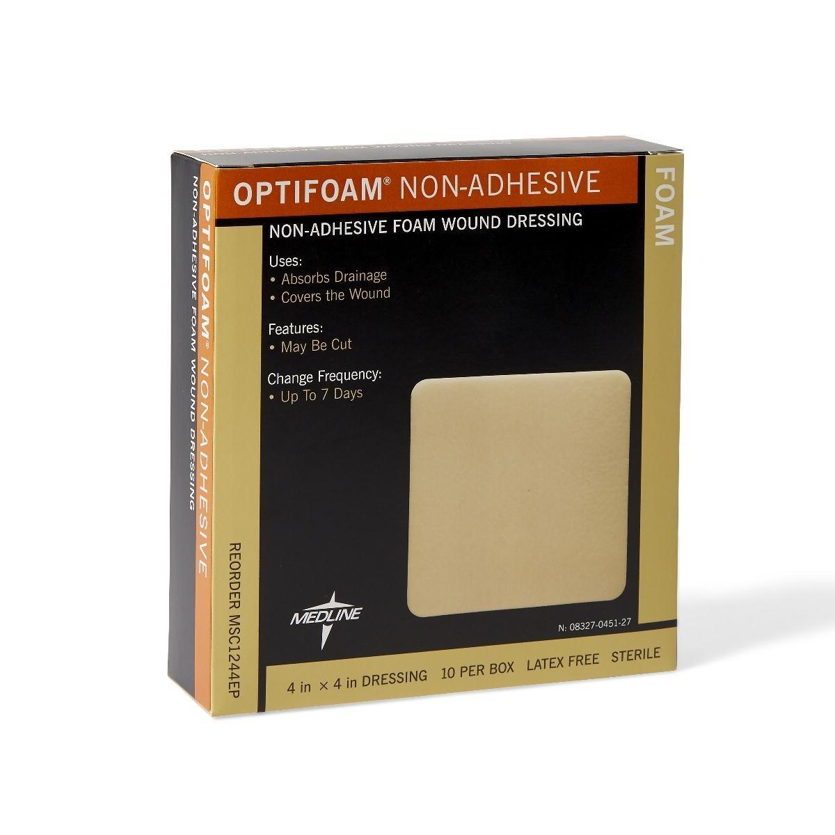 Medline MSC1244EPZ Optifoam Non-Adhesive Dressings, 4'' x 4'' (Pack of 10)