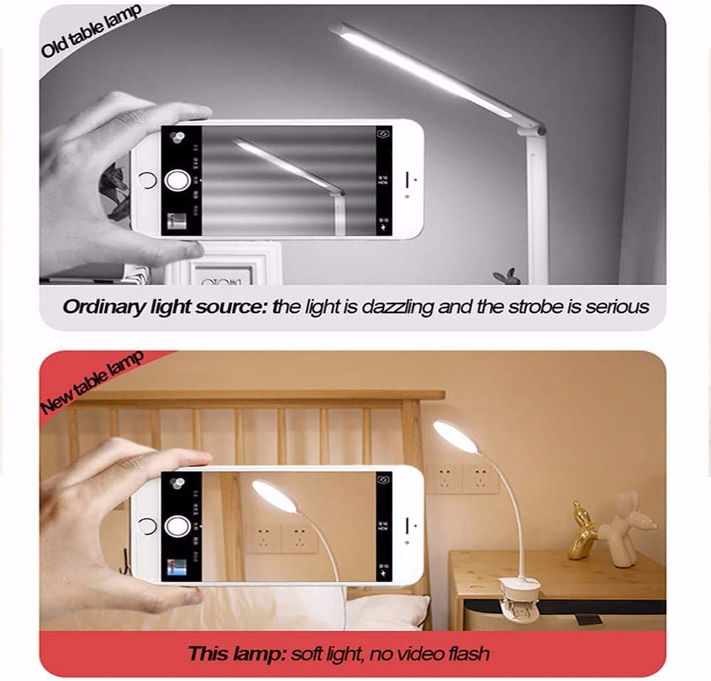 B/üro ZGNB LED Dimmbare Klemmleuchte Leselampe klemmbar 360/°Flexibel Leselampe USB Wiederaufladbare Clip-Licht 3 Helligkeitsstufen Touch-Steuerung zum Anklippen f/ür Schlafzimmer