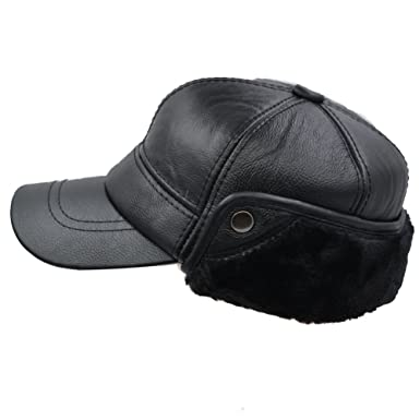 144b7a6cfddb4 Image Unavailable. Image not available for. Color  IFSUN Leather Baseball  Cap Earflap Fitted Cowhide Hats Men Soft Faux Fur Hunting Hat