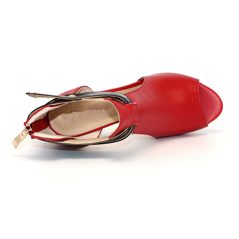 Fairly high Heel peep Toe Genuine Leather Square Heels Sandal Zip Heeled Shoes Shoes,Orange,6