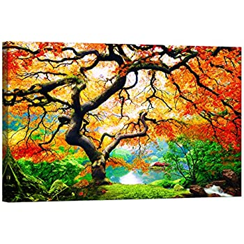 LightFairy Glow in The Dark Canvas Painting - Stretched and Framed Giclee Wall Art Print - Forest Outdoor Maple Tree - Master Bedroom Living Room Large Décor - 46 x 32 inch