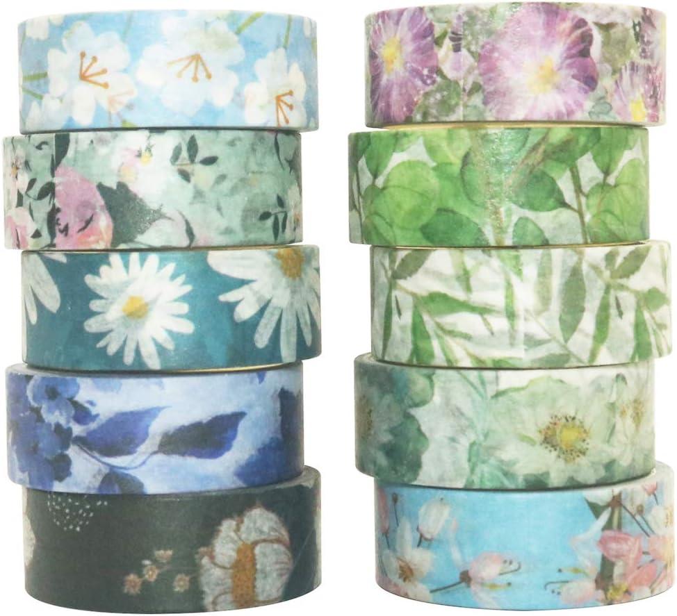 YUBBAEX 10 Rolls Spring Flowers Washi Tape Set Masking Decorative Tapes (Cold Tone)