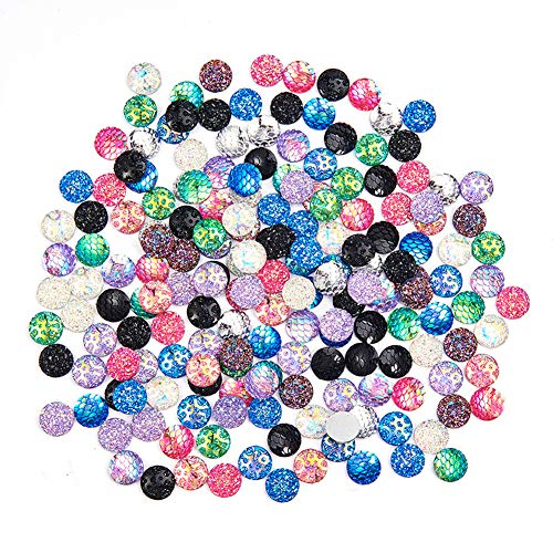 PH PandaHall 180pcs 18 Styles 12mm Flat Back Resin Cabochons Druzy Iridescent Mermaid Cabochons Flat Round Sparkly Glitter for Setting Bezel Tray Pendant Charms