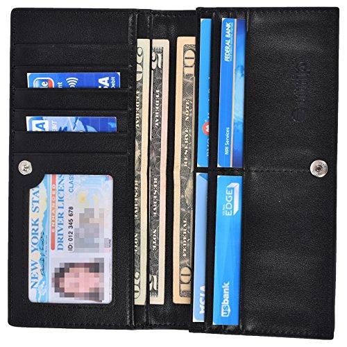 Mens Wallets RFID Blocking Bifold Wallet Slim Long Leather Pocket Wallet For Men