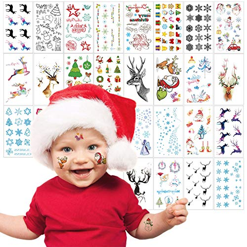 Christmas Tattoos for Kids Adults, 26 Sheets Cute Children Face Tattoos for Holiday Stocking Stuffers Goodie Bags Birthday Gift, VIWIEU Body Art Stickers for Boys Girls Charity Event