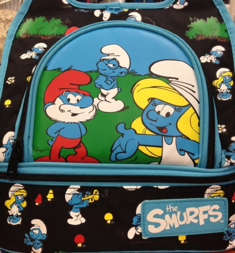 the-smurfs-loungefly-insulated-canvas-lunch-bag-colorful-smurf-family-on-black-background