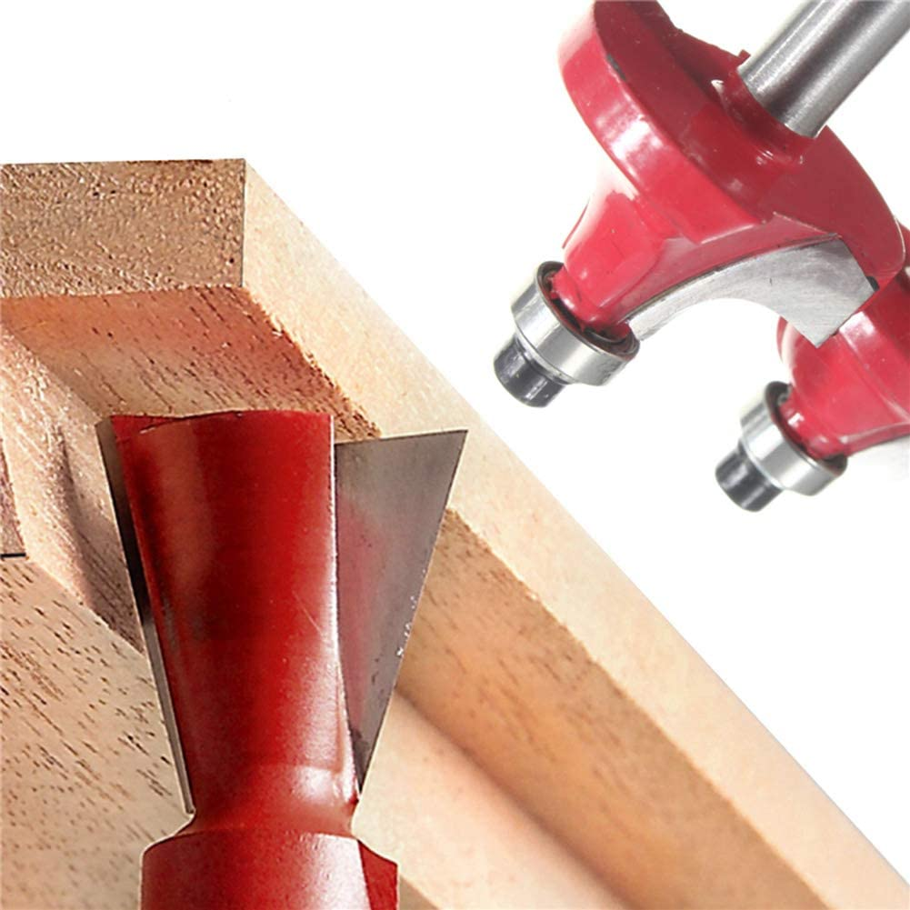 Dnasrivew 15Pcs 1//4inch Shank Router Bit Set Tungsten Carbide Rotary Woodworking Tool 1