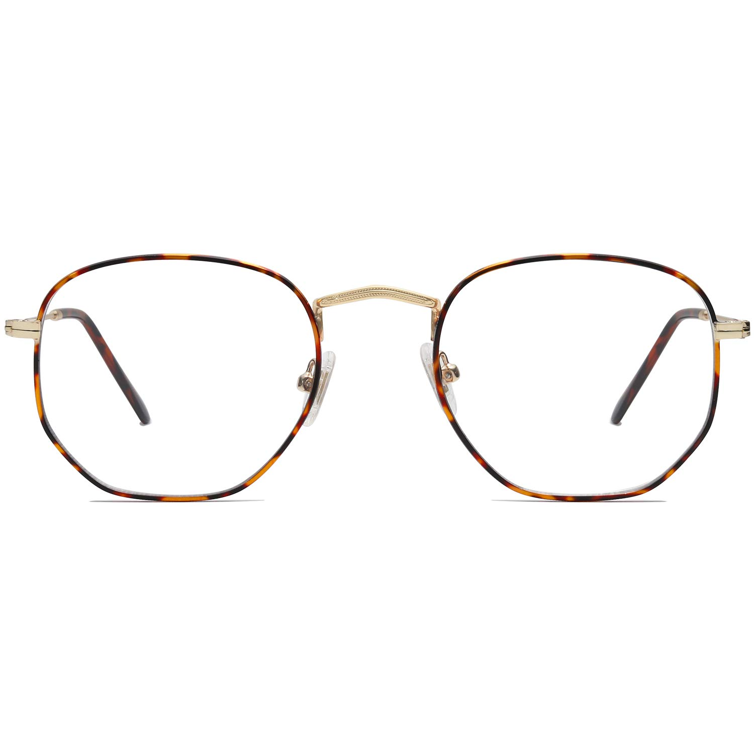 SOJOS Small Square Polarized Sunglasses for Men and Women Polygon Mirrored Lens SJ5036 Gold and Tortoise Frame/Anti-blue Light Lens by SOJOS