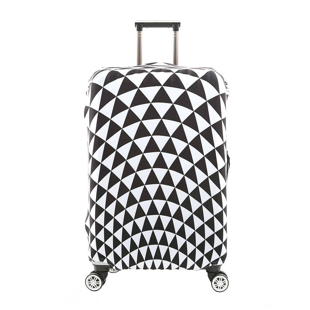 3D Print Infinity White Triangular Design Travel Luggage Protector Elastic Sleeve Cover 30''-32'' Anti-Scratch Luggage Cover Size XL With Luggage Strap